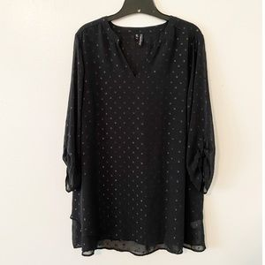 Maurices Peasant Metallic Tunic Blouse